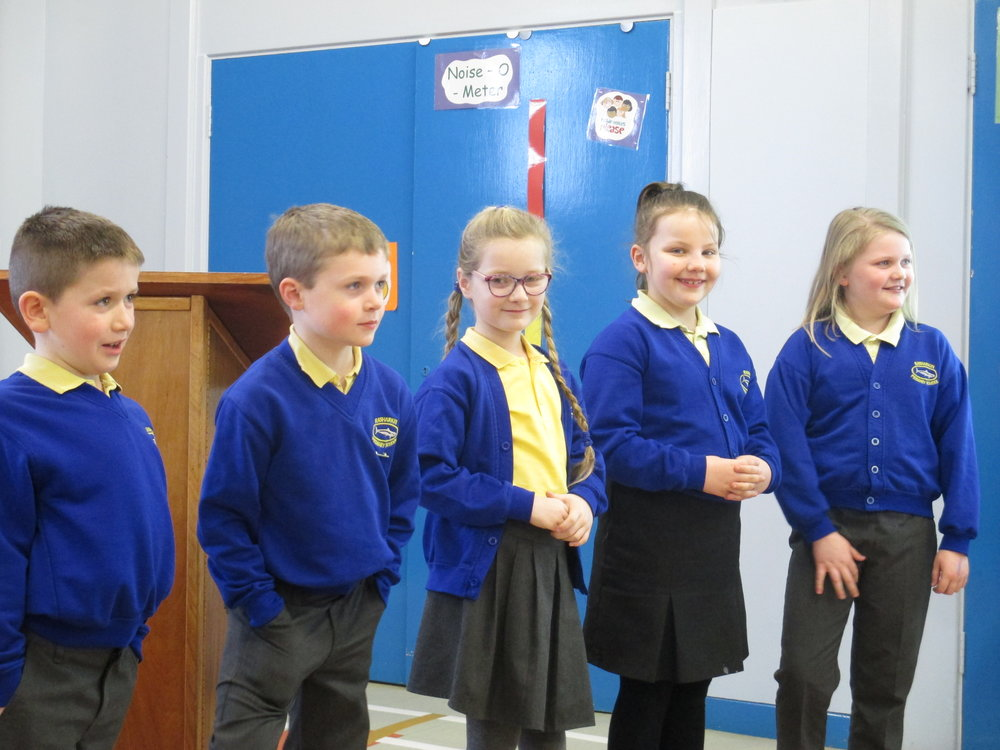 Thomas,Sam, Flora, Kirsty and Demi helped to demonstrate the issues that the We charity are trying to focus on.