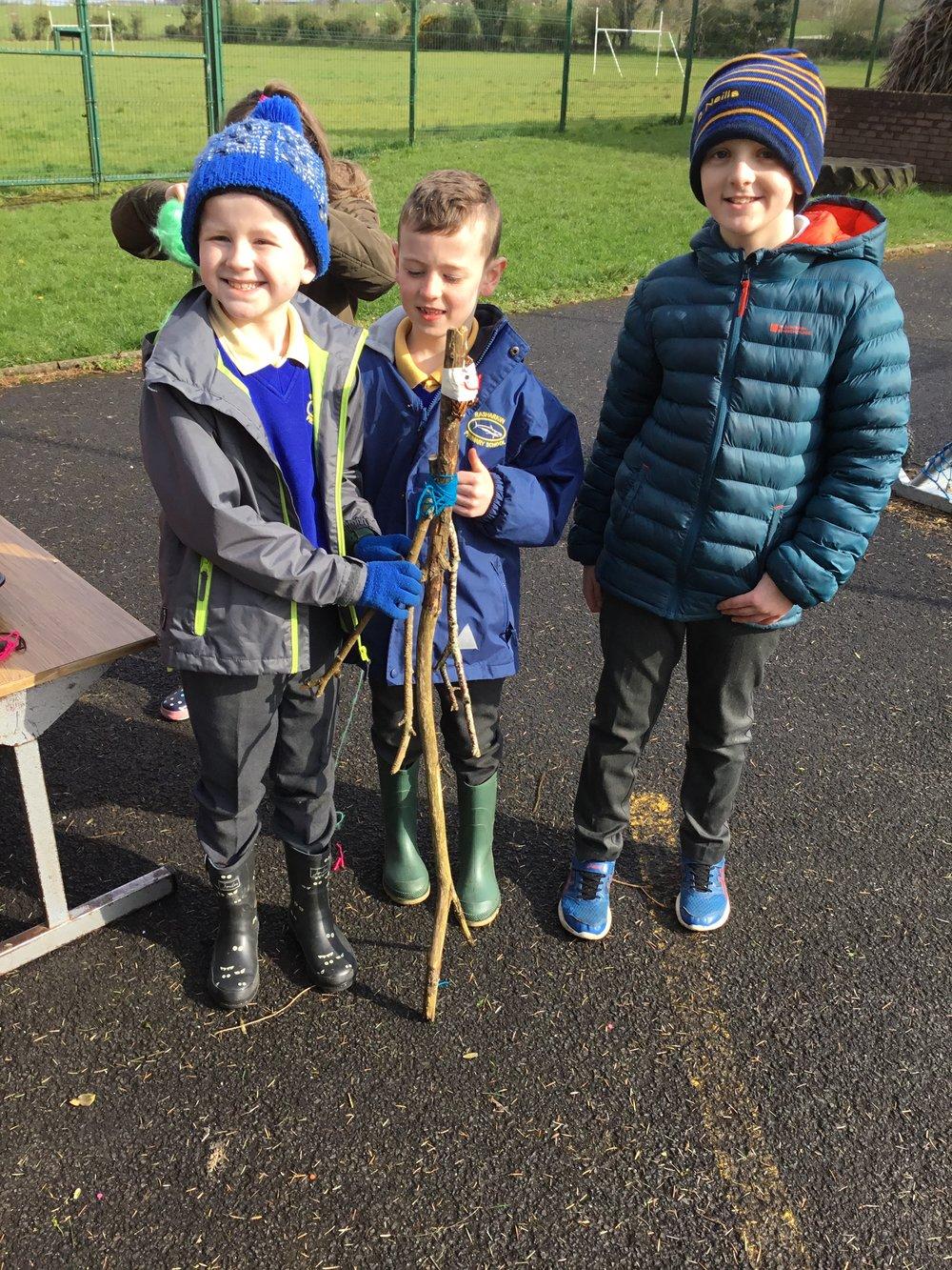 The boys made a super stick man