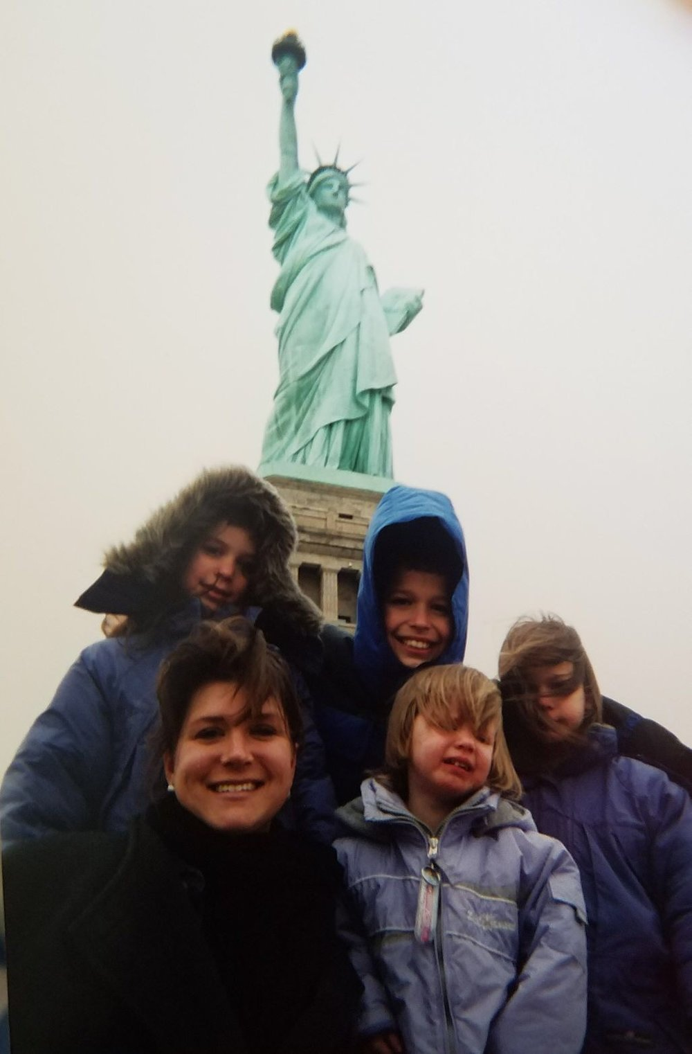 Way, way back. . . on the drive home from a Faith and Freedom Tour, we stopped at the Statue of Liberty. Some of us were more excited than others. (Trivia: this was long before GPS and google maps, so I called the office in San Antonio to have someone help me navigate through New York City. Everyone of my children remember that day!)