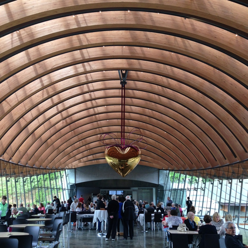 Crystal Bridges Museum of Art | Bentonville, Arkansas  Dining at the Museum's Eleven Restaurant under the stunning Jeff Koons, you'll enjoy modern American comfort food inspired by the artworks, natural surroundings, and fascinating regional history connected to the Museum.