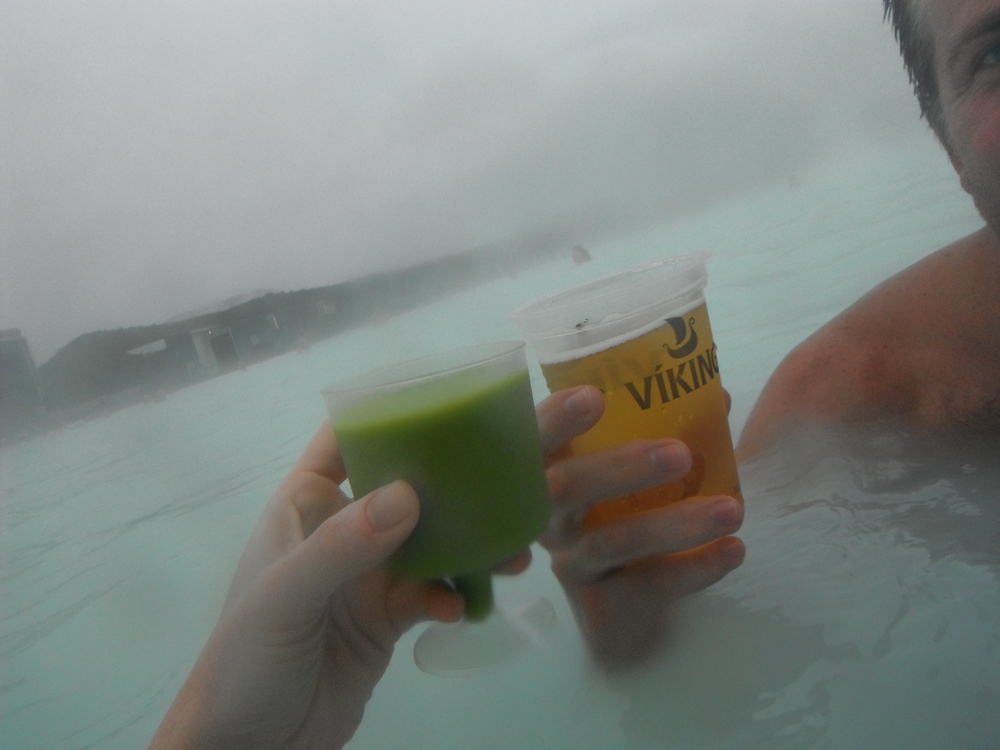 At Iceland's Blue Lagoon you can take refuge from the frigid temps in the stunning thermal pools with your choice of healthy or indulgent beverages.