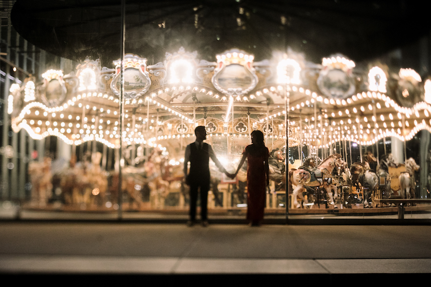 A storybook Brooklyn wedding, pulled off with the help of  Two Kindred Event Planners  who were hired for the month leading up to the wedding. Photo taken in front of Jane's Carousel in Dumbo by  UNIQUE LAPIN Photography .