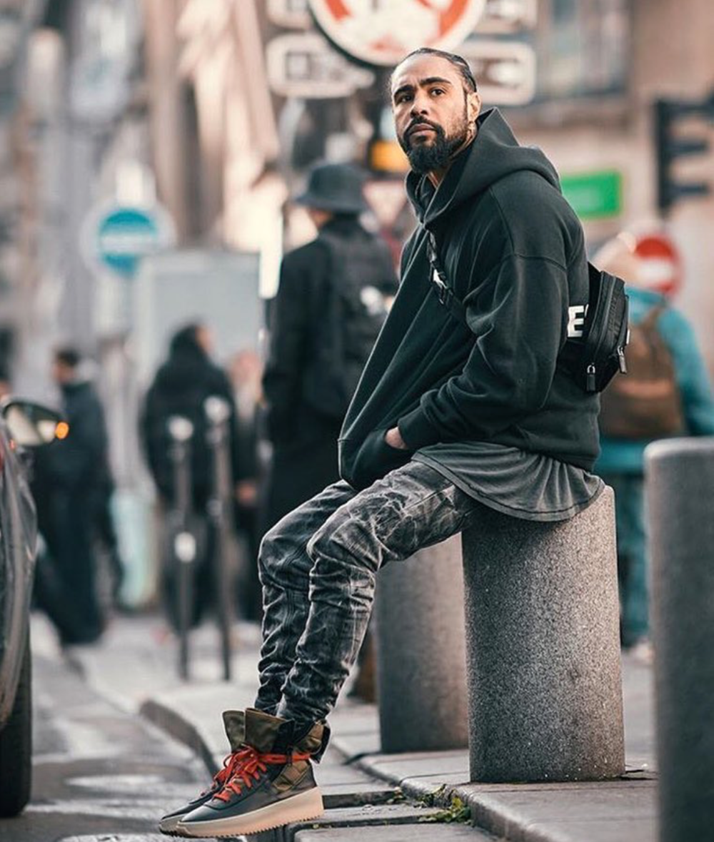 Jerry Lorenzo Wearing Fifth Collection Holy Water Denim, unreleased Essentials collection, and sample Jungle Sneakers @ Paris Fashion Weekend 2018