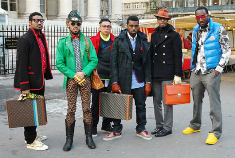 Don C, Virgil Abloh, and the rest of Kanye's entourage at Paris Fashion Week 2009; photo via   Highsnobiety