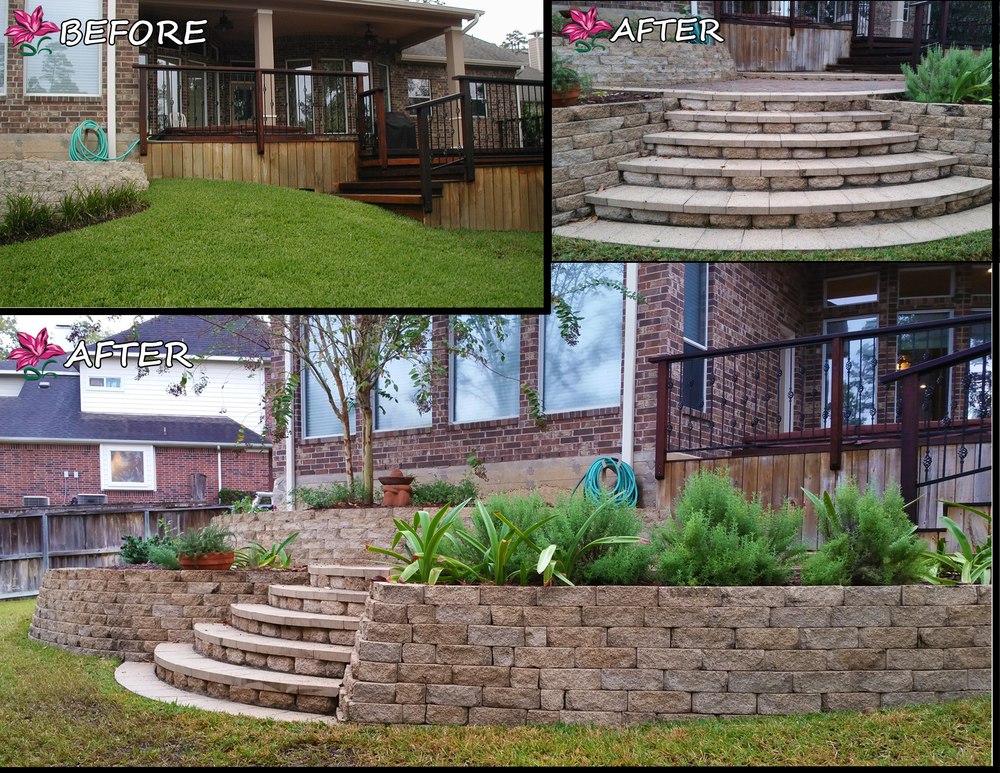 We transformed a steep hill at the bottom of an existing back deck into an extended deck landing with steps that meet perfectly level to the ground, complimented by raised, enclosed landscaping.