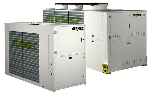 AERMEC's air cooled free cooling and heat recovery chiller, the NRL.  Also available in simultaneous heating and cooling version, the NRP.