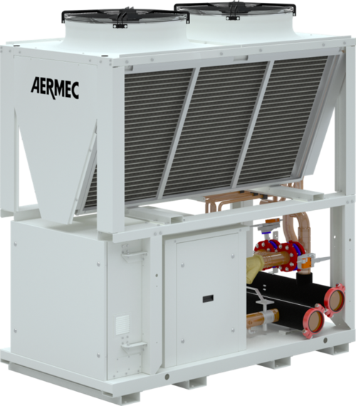 The only modular air cooled chiller with integrated free cooling coils, the AERMEC NYB