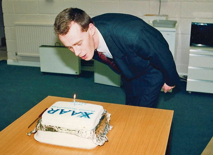 Mark Shepherd blows out the candle on Xaar's 1st birthday