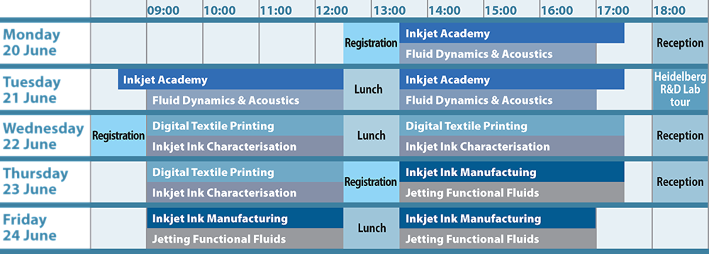 IMI Europe Inkjet Summer School 2016 programme timetable