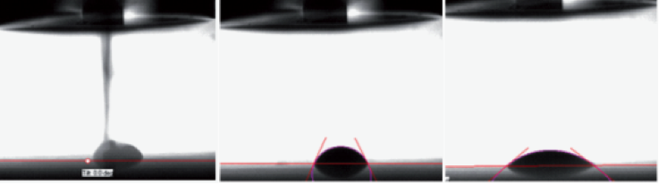 Figure 3. Use of a high speed camera enables the measurement of initial pico­litre drop contact angle right after the drop hits the surface and subsequent fast spreading and absorption phenomena.
