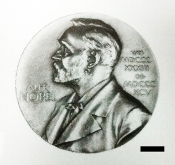 Nobel prize medal printed with graphene ink on paper