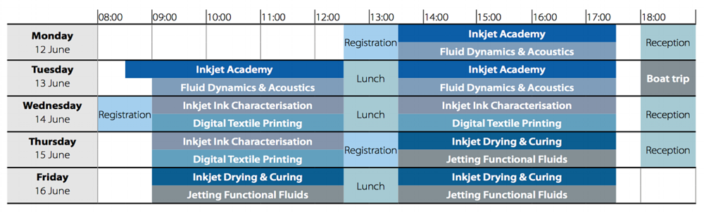 Inkjet Summer School 2017 timetable
