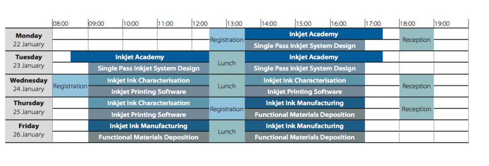 Inkjet Winter Workshop 2018 Timetable