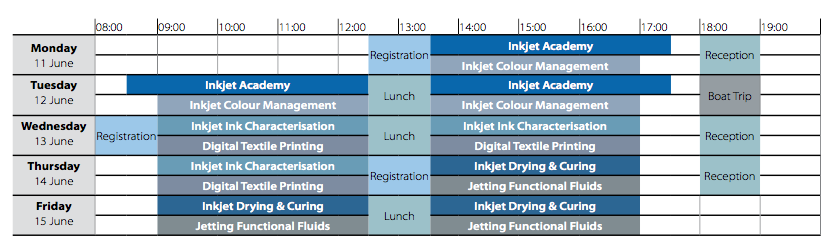 Inkjet Summer School 2018 timetable