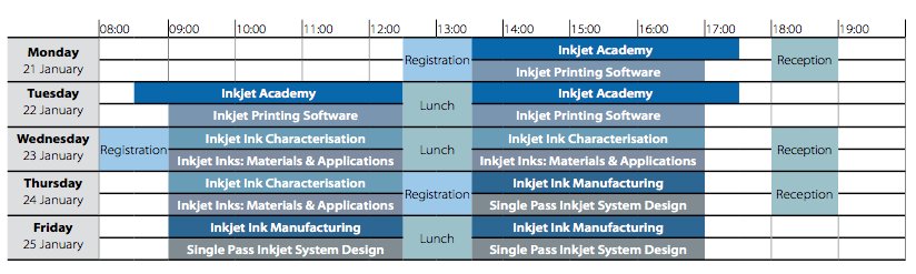Inkjet Winter Workshop 2019 timetable