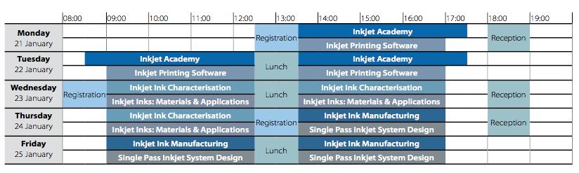 Inkjet Winter Workshop 2019 timetable