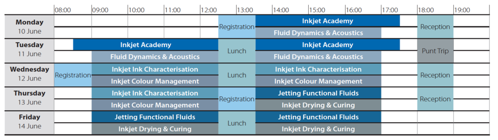 Inkjet Summer School 2019 timetable