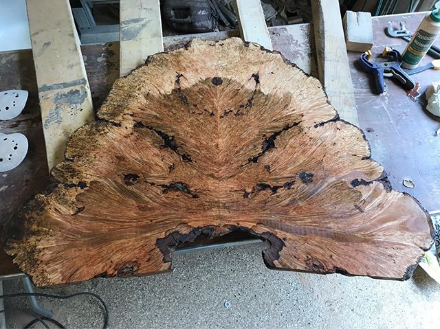 First coat of @generalfinishes Arm-R-Seal and it's a stunner. #charlotte #campfirellc #mapleburl #coffeetable
