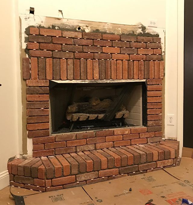 A little late night brick work. After Thanksgiving we'll be back to trim it out and install a new mantle! #kasayconstruction #fireplace