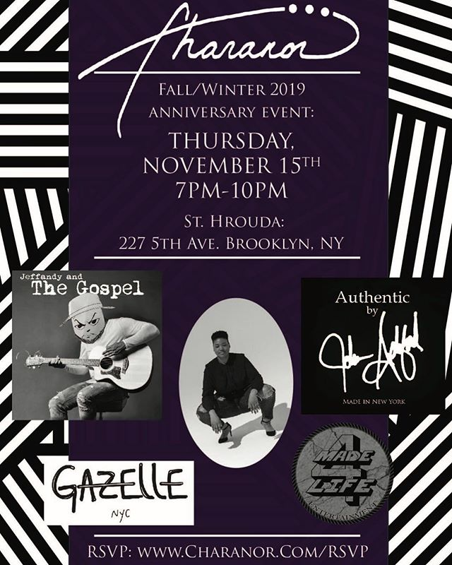 Thanks to our sponsors this event is free with rsvp! 4 days and counting, I can't wait to celebrate with you guys! 🍾 🥂 🎊 🥂🍾 Live Music By: @jeffandyalltogether @jeffandyandthegospel 🎸 🎤 🎂 🎤 🎸  Runway Shows By: @Charanor @johnashfordshoes  @gazellenyc 🖤📸🖤📸🖤 #Charanor #Maker #AccessoriesDesigner #DopeFashion #LiveMusic #BirthdayCake #ItsAParty  #HandmadeInBrooklyn #GirlBoss #FemaleDesigner #Leather #FitAlumni