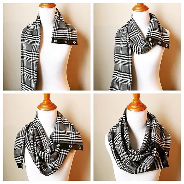 I get a lot of questions about how to wear our scarf since it's extra long (almost 2.5 yards long!). It's super easy once you get the hang of it with these 4 simple steps... 1.) Undo the snaps and rest the bottom set over your shoulder (I usually do my left so that the bottom seam faces down) . 2.) Wrap it around your neck (not too tight!) . 3.) Wrap it again (should end up with 3 loops when all finished) . 4.) Find the ends and then snap back together so that the leather lays flat. Then it just takes a little shifting and finessing to get it just right! . There are so many ways to wear it but this is my personal fave! . . . . .  #plaidscarf #leatherscarf #chastina #madeinohio #midwestmaker #makersgonnamake #scarfseason #etsy #madforplaid #etsyscarf #giftguide #giftideasforher #coldweathergear #coldweatherfashion #chastinadesigns #scarfs #scarfday