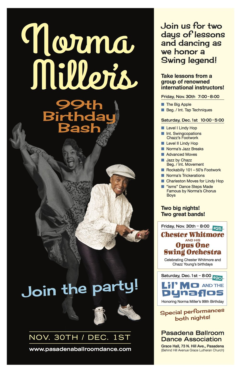 Poster for the Norma Miller Birthday Celebration