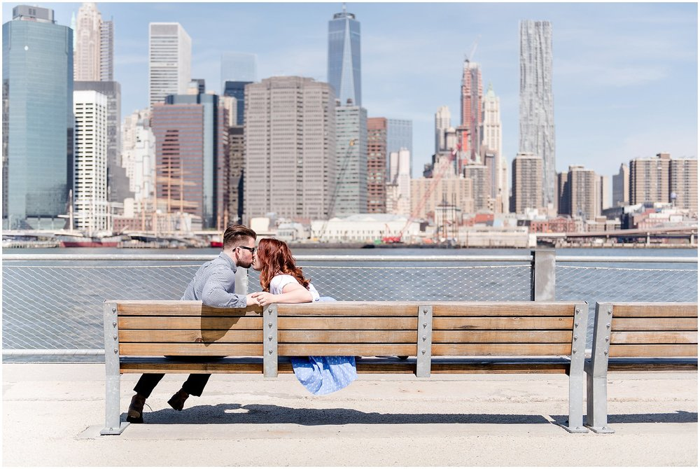 engagement portraits on the brooklyn promenade in dumbo brooklyn