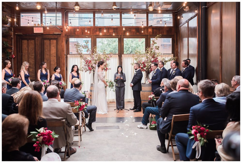 Wedding ceremony bride and groom wedding party at brooklyn winery williamsburg New York