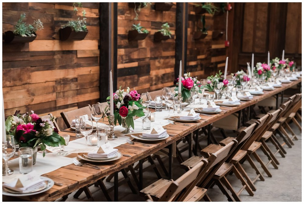 Wedding tablescape at brooklyn winery williamsburg new york
