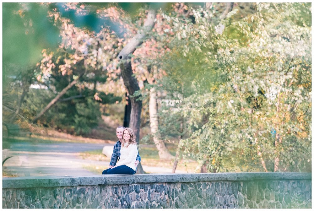 Lakeside view for a couple engagement session at Verona Park, Verona New Jersey