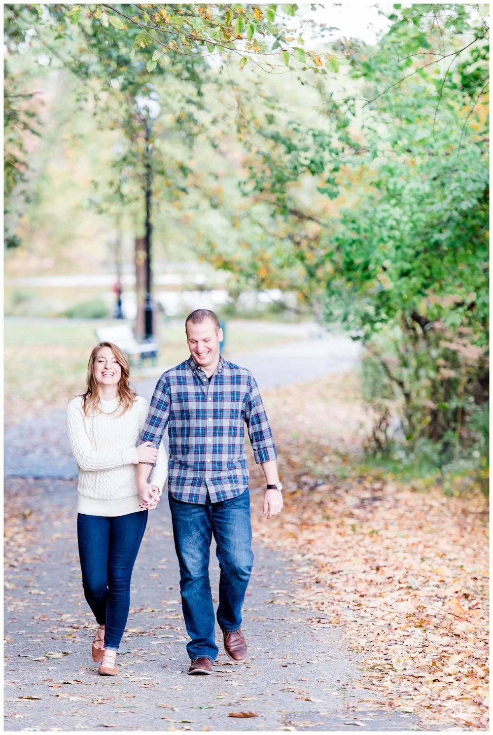 Adorable couple at their engagement session at Verona Park, Verona New Jersey