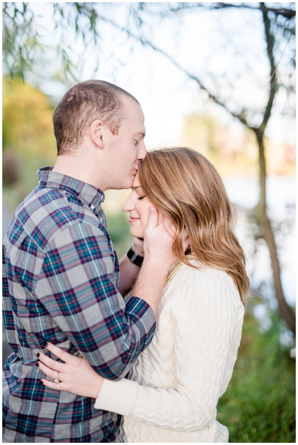Sweet kisses at engagement session at Verona Park, Verona New Jersey