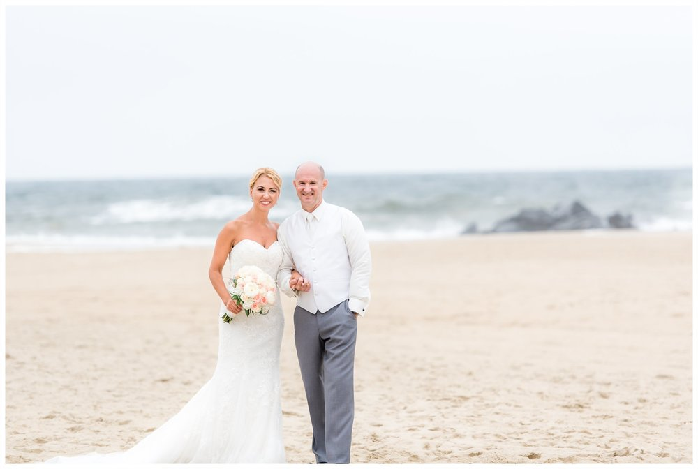 Bride and Groom beach wedding at Mc'Loones Pierhouse, long branch, new jersey