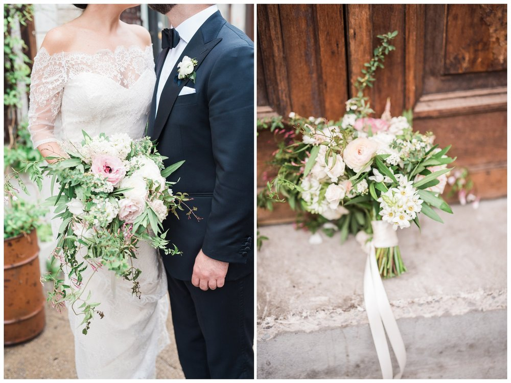 Brooklyn Winery Bride and Groom Portrait session with beautiful bouquet