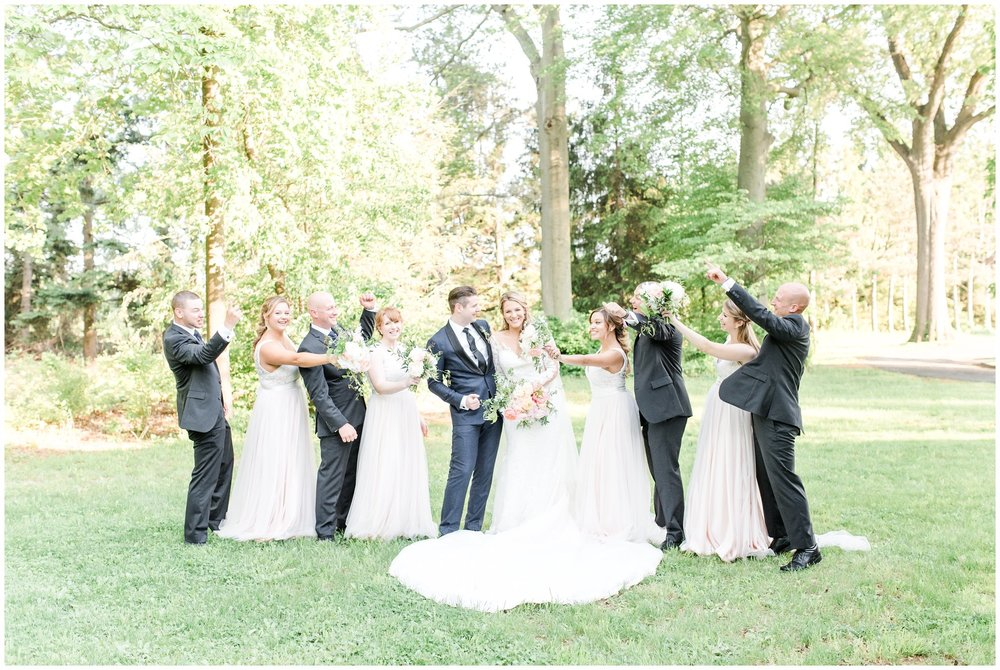 bridal party portraits at the ryland inn, whitehouse station, nj