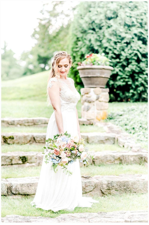 Bridal portrait in arboretum
