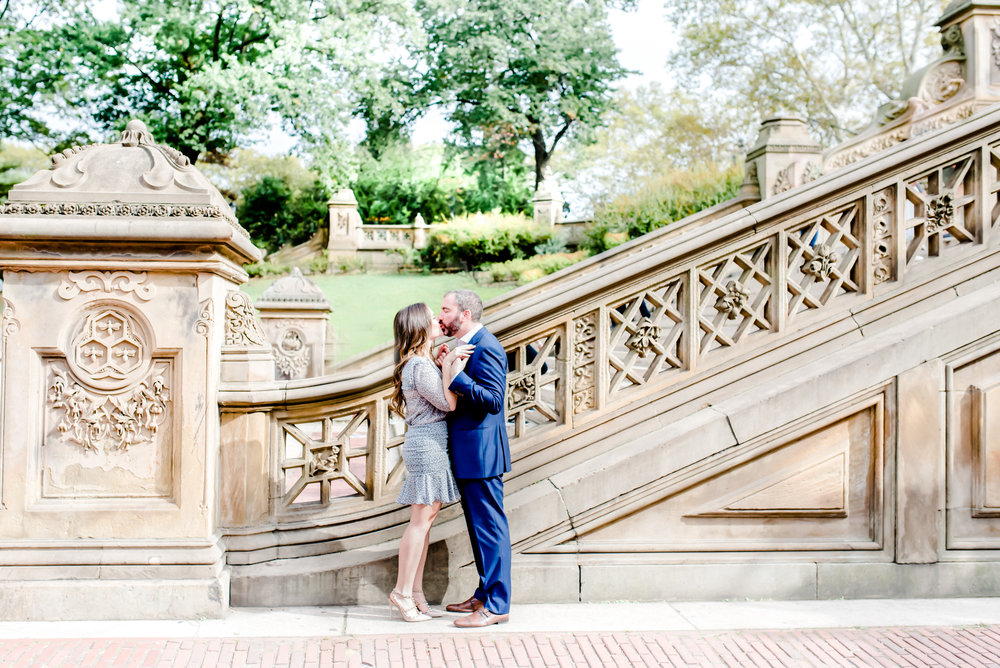 couple in central park kissing