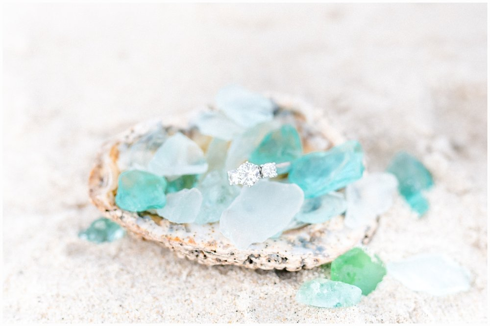 engagement ring and sea glass