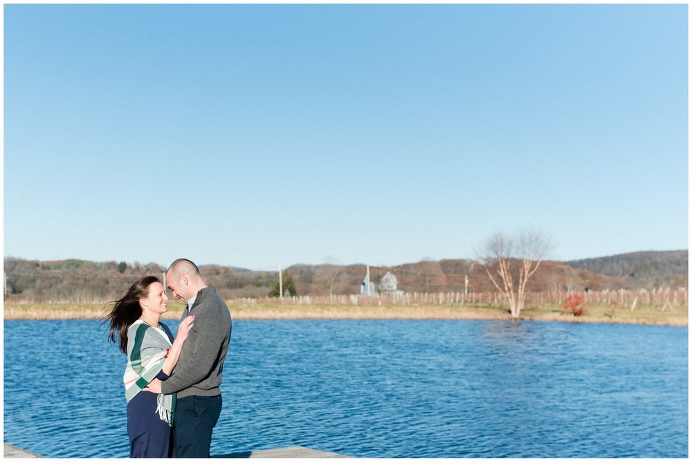 couple on a lake at winery