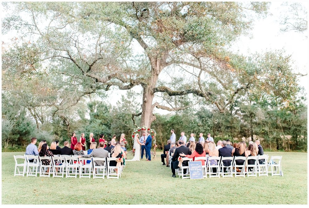 wedding ceremony under big tree