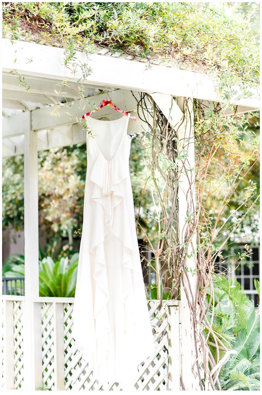 wedding dress in gazebo