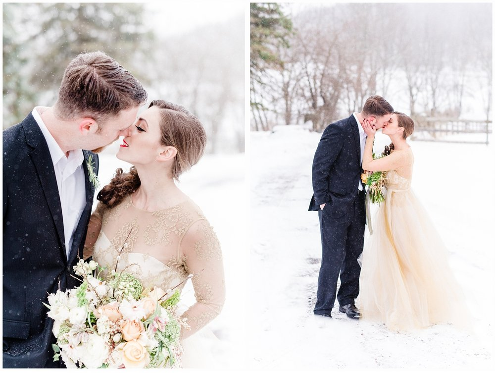 winter wonderland bride and groom kissing in the snow
