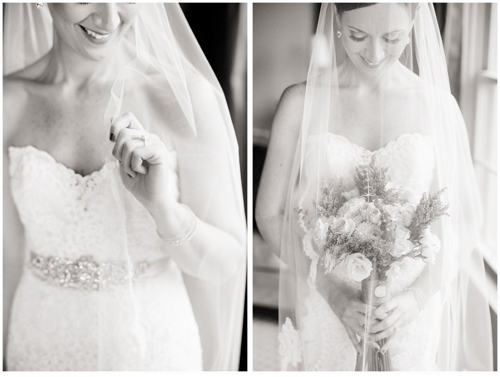 bride with bouquet in bridal suite