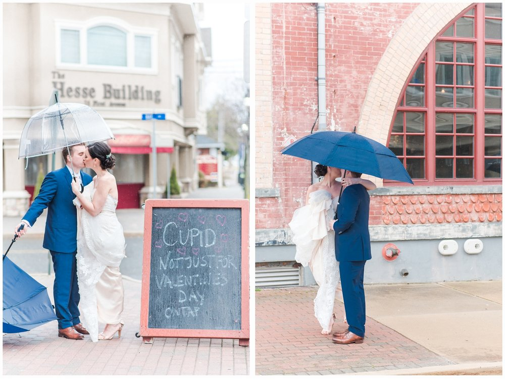 bride and groom under umbrella for first look