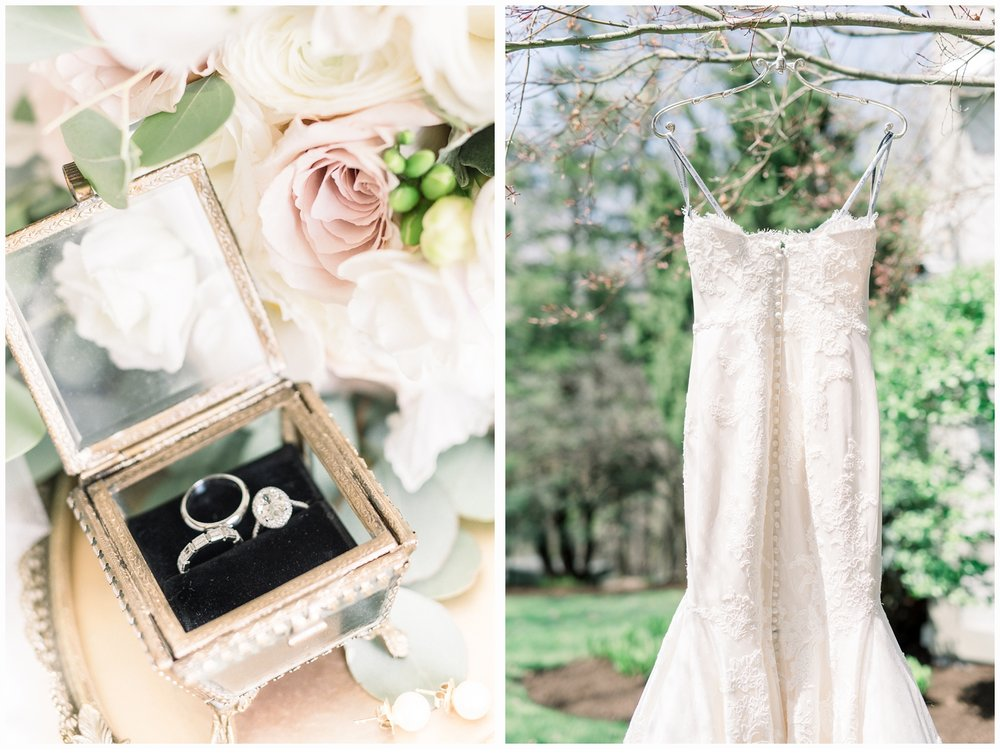 brides rings and bridal gown