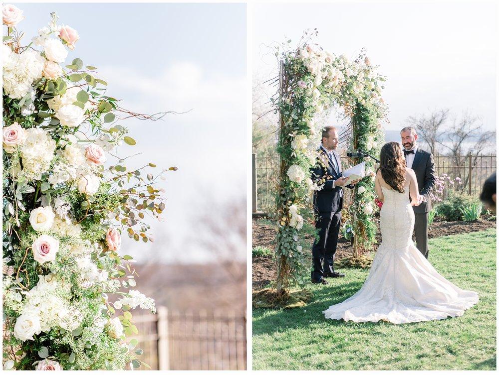 pretty wedding floral arch