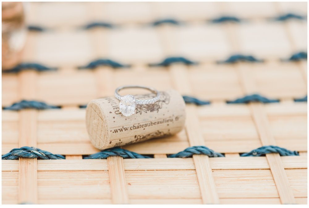 engagement ring on cork