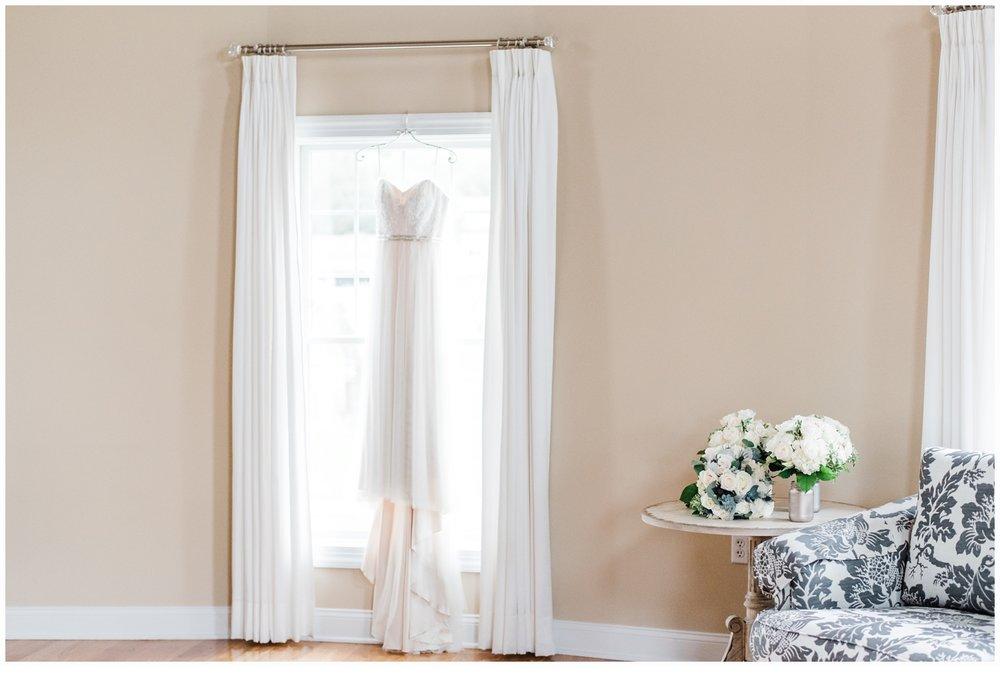wedding dress in bridal suite