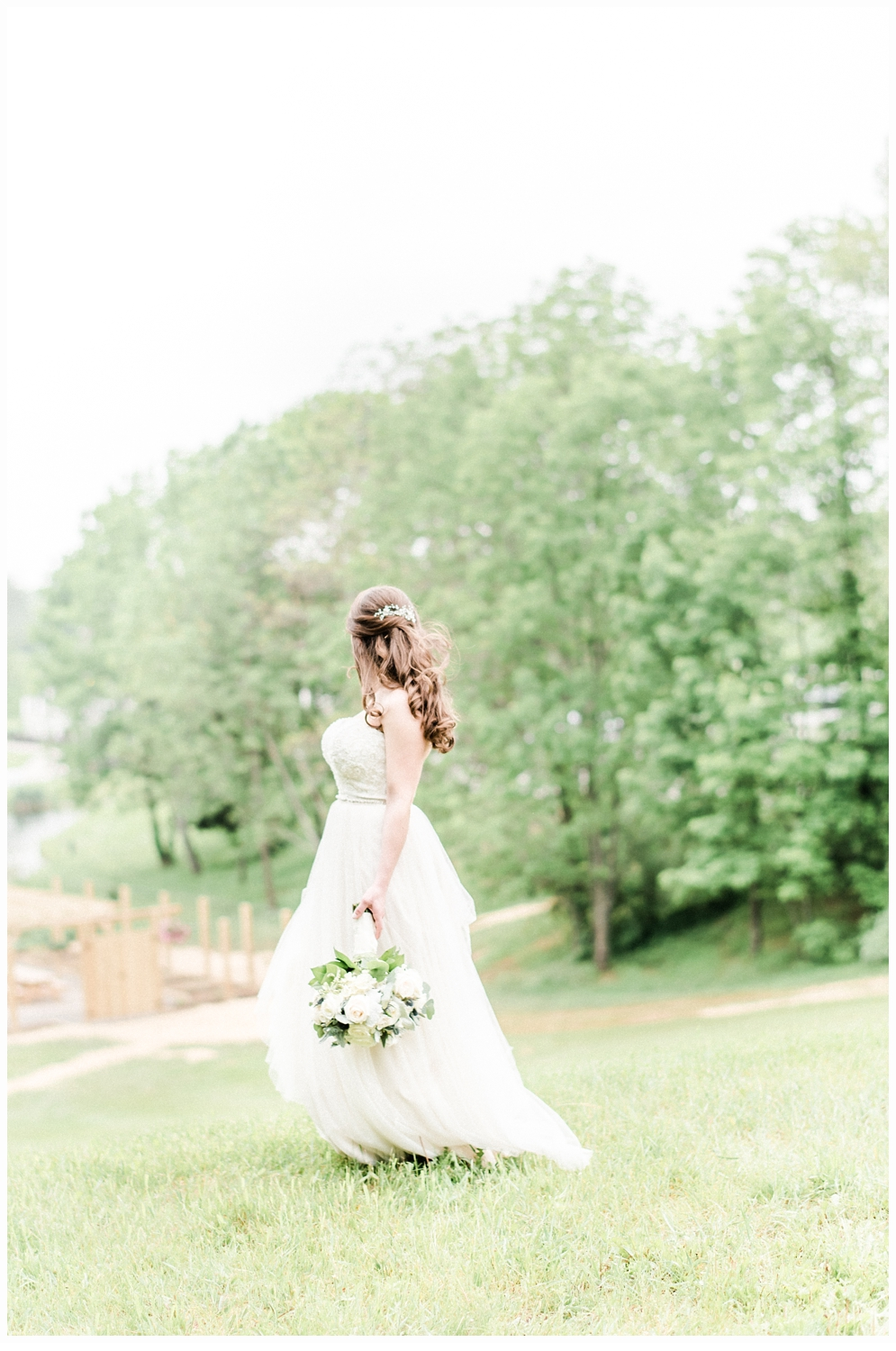 bridal portrait in a green meadow