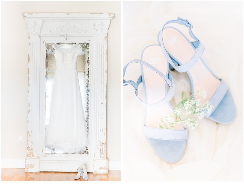 bridal gown and shoe details